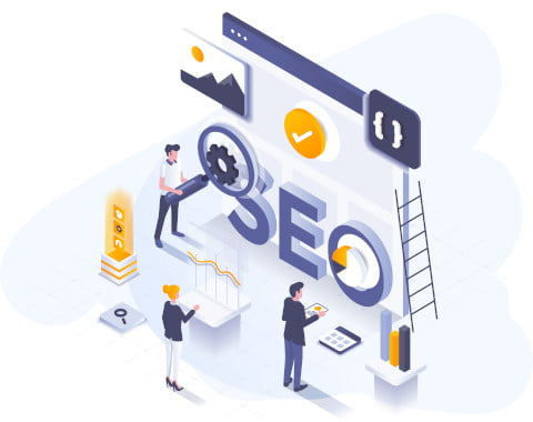SEO illustration - Little people working on a screen the size of a house