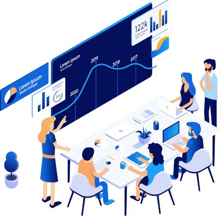 Illustration of people around a desk and large screen working together.